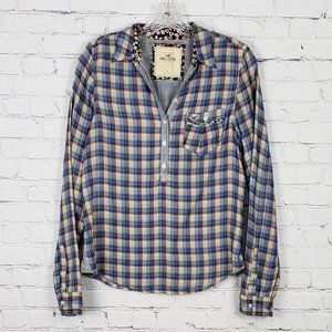 Hollister Long Sleeve Plaid Flannel Pullover Top S